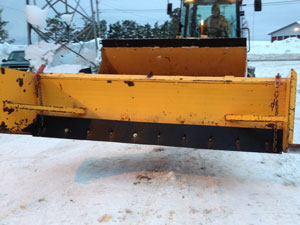 Tundra Tamer polyurethane snow plow cutting edges on box plow